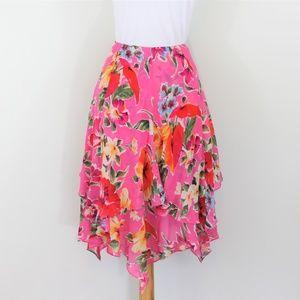 Ralph Lauren Silk Asymmetrical Hem Skirt Pink 4 S